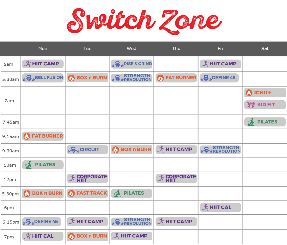 Switch Zone timetable for web-100
